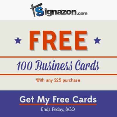 100 Business Cards FREE with $25 Purchase from Signazon.com