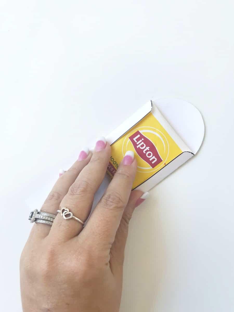Fold The Bottom Flap Up To Secure Tea Bag